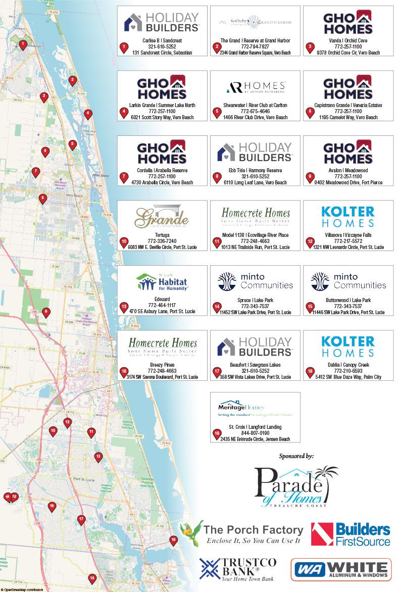 2020 Treasure Coast Parade of Homes Map